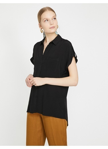 Koton Kısa Kollu Gömlek Siyah